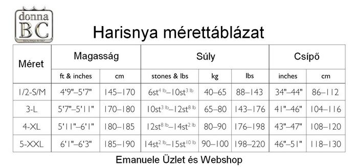 Bc harisnya, combfix, harisnyanadrág mérettáblázat