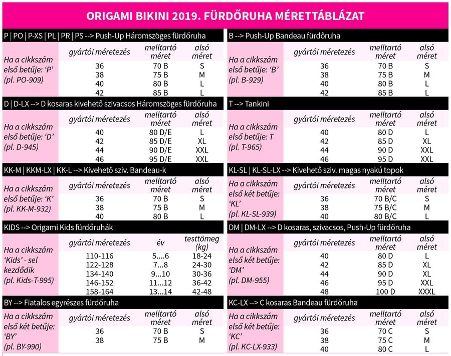 8f93fa7c18 Origami Bikini 2019 mérettábla - Emanuele Üzlet és Webáruház