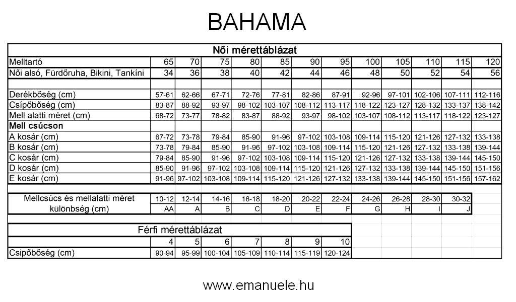 Bahama mérettáblázat. Bikinik, tankinik, fürdőruhák, melltartók, alsók, egyrészes, kétrészes.
