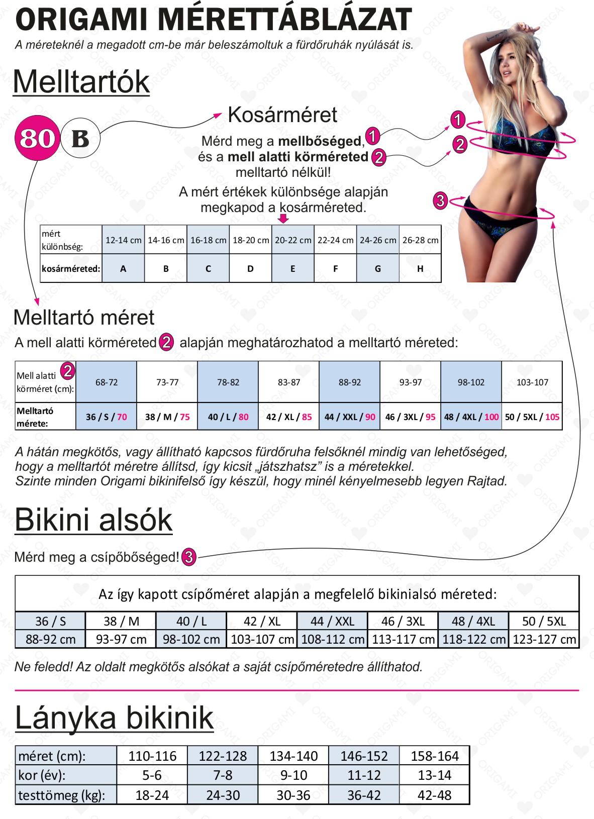 Origami Bikini 2020 mérettáblázat
